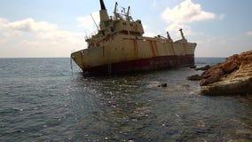 Nave de la ruina de Edro III en de Pegeia, Chipre almacen de metraje de vídeo