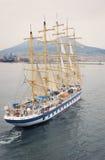 Nave de la vela en el puerto de Napoli Fotos de archivo libres de regalías
