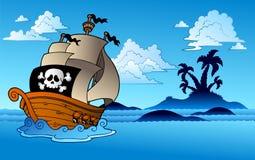 Nave de pirata con la silueta de la isla Fotografía de archivo