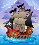 Nave de pirata en el mar tempestuoso Imagenes de archivo