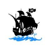 Nave de piratas en vector del mar Fotos de archivo libres de regalías