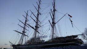 Nave de Sark del Cutty en Greenwich, Londres, Reino Unido, en la tarde imagen de archivo