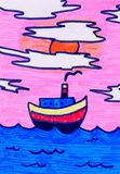 Nave del dibujo del niño que flota en el mar con las velas ilustración del vector