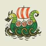 Nave del fumetto Scandinavo vichingo drakkar illustrazione di stock