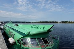 """Nave del motore sull'aliscafo """"Meteor-244 """"al pilastro della stazione del fiume in Yaroslavl fotografia stock libera da diritti"""