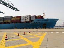 Nave del ontainer del ¡de Ð en puerto Tianjin, China imágenes de archivo libres de regalías