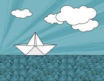 Nave del papel de la papiroflexia en ondas del mar stock de ilustración