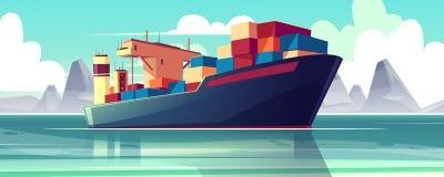 Nave del seco-cargo del vector en el mar, barco cargado stock de ilustración