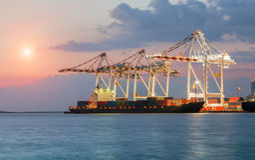 Nave del trasporto del carico del contenitore Fotografia Stock Libera da Diritti