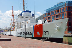 Nave della guardia costiera di Taney nel porto interno di Baltimora Fotografia Stock Libera da Diritti