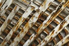 Nave demolita di legno dentro le costole/modello/fondo Fotografie Stock