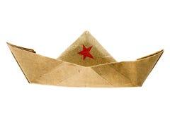 Nave di carta con la stella rossa Immagine Stock