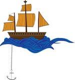 Nave di Doodle con le onde Immagini Stock