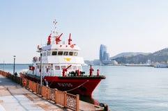 Nave di estinzione di incendio della guardia costiera di Yeosu, Corea del Sud immagini stock libere da diritti