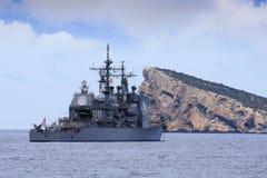 Nave di guerra ancorata Fotografie Stock