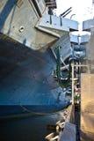Nave di guerra in una porta Immagini Stock Libere da Diritti