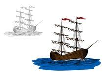 Nave di navigazione con le vele chiuse su un mare blu illustrazione vettoriale