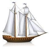 Nave di navigazione d'annata con la riflessione illustrazione vettoriale