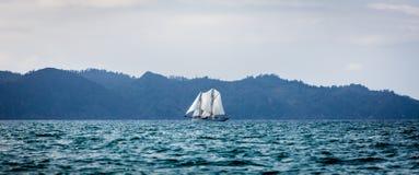 Nave di navigazione di ketch sotto le vele piene Fotografia Stock