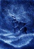 Nave di navigazione e la tempesta illustrazione vettoriale