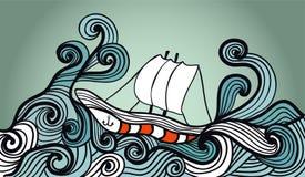 Nave di navigazione nell'oceano della tempesta Fotografia Stock