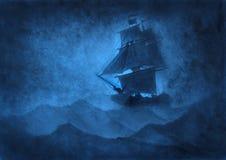 Nave di navigazione in una tempesta illustrazione di stock