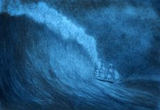 Nave di navigazione in una tempesta illustrazione vettoriale