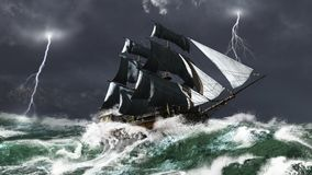 Nave di navigazione in una tempesta del lampo illustrazione vettoriale