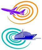 Nave di passeggero e dell'aeroplano illustrazione di stock