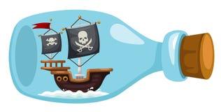 Nave di pirata in bottiglia illustrazione di stock