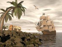 Nave di pirata che trova tesoro - 3D rendono Fotografia Stock