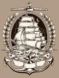 Nave di pirata di stile del tatuaggio nella cresta royalty illustrazione gratis