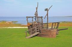 Nave di pirata nel parco di avventura fotografia stock