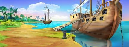 Nave di pirata sulla riva dell'isola del pirata Vista di panorama illustrazione di stock