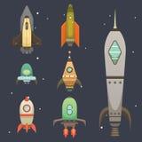 Nave di Rocket nello stile del fumetto Modello piano delle icone di progettazione di nuovo di affari sviluppo dell'innovazione as illustrazione vettoriale