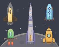 Nave di Rocket nello stile del fumetto Nuova innovazione di affari illustrazione di stock