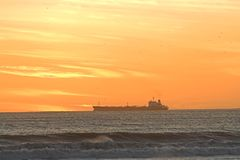 Nave di tramonto Immagini Stock