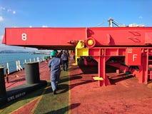 Nave di trasporto a bordo di sicurezza con l'ambiente variopinto Fotografie Stock