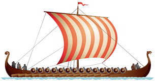 Nave di Viking, drakkar, Drakkar illustrazione vettoriale