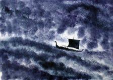 Nave di Viking e la tempesta illustrazione di stock