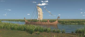 Nave di Viking su un fiume illustrazione di stock