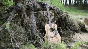 nave Die vergessene Gitarre nahe dem See stock footage