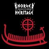 Nave Drakkar, illustrazione con la pietra runica antica dalla Scandinavia e l'eredità dei norvegesi dell'iscrizione illustrazione di stock