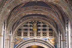 Nave of Duomo di Siena. Metropolitan Cathedral of Santa Maria Assunta. Tuscany. Italy. royalty free stock photography