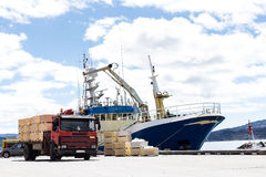 Nave e camion di Trabsportation con cielo blu Fotografia Stock