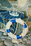 Nave e salvagente del giocattolo Fotografia Stock
