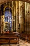 Nave ed altare della cattedrale di Evora, la più grande cattedrale nel Portogallo Fotografia Stock