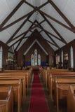 Nave ed altare della chiesa di missione di Te Waimate, Nuova Zelanda Fotografie Stock