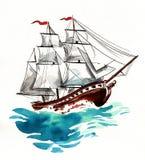 Nave ed onde di navigazione illustrazione di stock