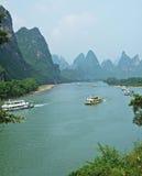 Nave en el río del lijiang Fotos de archivo libres de regalías